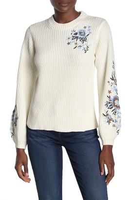 Lucky Brand Floral Embroidered Pullover