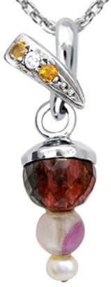 Essence Jewelry Country Of Tourmaline, Fluorite, Pearl, Citrine, Cubic Zirconia Sterling Silver Ball Short Pendent by Essence Jewelry
