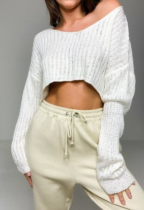 Missguided Cream Co Ord Wide Sleeve V Neck Knit Sweater