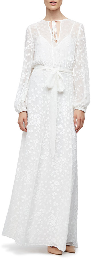Co Long-Sleeve Floral-Embroidered Maxi Peasant Dress, White