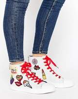 Tommy Hilfiger Gigi Hadid White Patch Lace Up High Top Sneakers