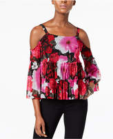 INC International Concepts Petite Printed Mesh Cold-Shoulder Top, Created for Macy's
