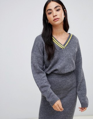 Asos DESIGN two-piece v neck sweater with tipping