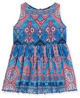 Hemant and Nandita Sleeveless Multipattern Cotton Dress, Blue/Pink, Size 4-6