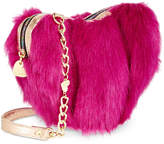 Betsey Johnson Lux Faux-Fur Heart Mini Crossbody
