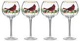 Lenox Winter Greetings Cardinal Balloon Wine Glasses, Set of 4