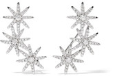 Kenneth Jay Lane Starburst Silver-plated Cubic Zirconia Earrings - one size