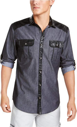 INC International Concepts I.n.c. Men Regular-Fit Colorblocked Utility Shirt with Faux-Leather Piecing