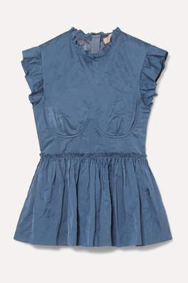 Brock Collection Crinkled-twill Peplum Bustier Top - Light blue