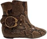 Alexander McQueen Brown Python Ankle boots