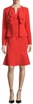 Albert Nipon Long-Sleeve Ruffle-Front Dress Suit, Paprika