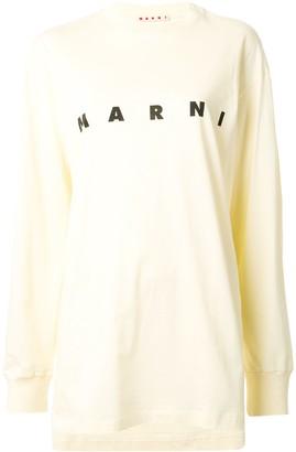 Marni printed logo asymmetric T-shirt