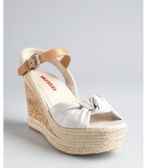 Prada Sport ivory leather knotted cork and jute wedge sandals