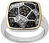 Lord & Taylor Diamond Ring in Sterling Silver with 14 Kt. Yellow Gold, 0.38 ct. t.w.