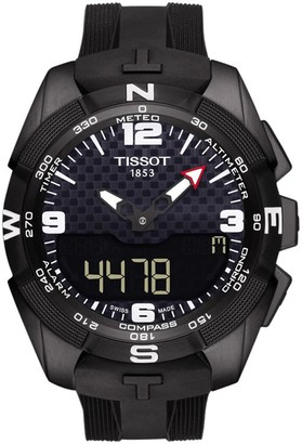 Tissot T0914204705701 Men's T-Touch Expert Solar Chronograph Altimeter Rubber Strap Watch, Black