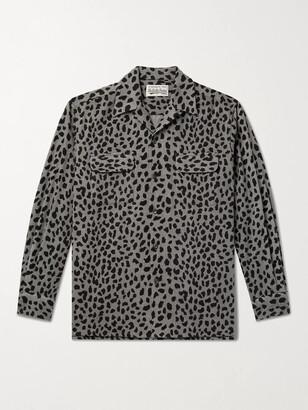 Wacko Maria Camp-Collar Leopard-Print Wool-Blend Flannel Shirt