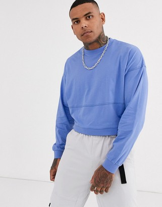 Asos Design DESIGN oversized boxy long sleeve t-shirt with seam detail in blue-Purple