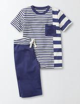 Hotchpotch Pyjamas Starboard and Ecru Stripe Boys Boden