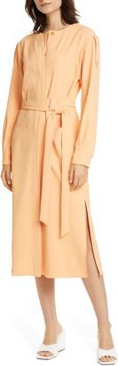 Tibi Chalky Drape Long Sleeve Midi Shirtdress