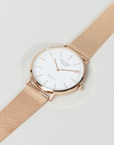 Reclaimed Vintage Classic Mesh Strap Watch In Rose Gold