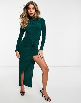 Club L London gathered panelled maxi in emerald
