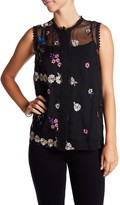 T Tahari Laureen Floral Embroidered Blouse