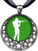 GiftJewelryShop Olympics athlete shooting target Retro Style Round Seven Stars Pendant Charm Necklaces