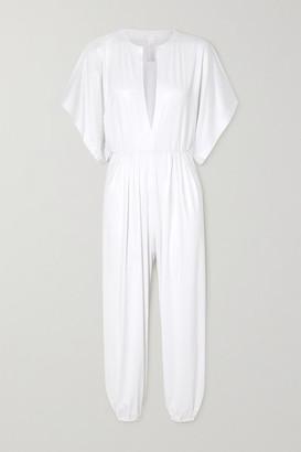 Norma Kamali Rectangle Jog Stretch-lame Jumpsuit - White