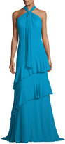 Theia Sleeveless Tiered Silk Chiffon Gown, Blue