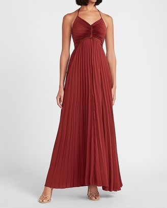 Express Pleated Halter Neck Maxi Dress