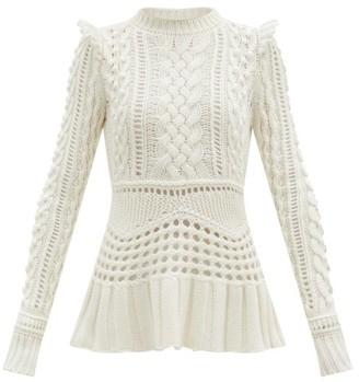 Gabriela Hearst Martha Peplum-hem Cable-knitted Cashmere Sweater - Ivory