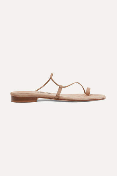 Emme Parsons Susan Suede And Leather Sandals - Neutral