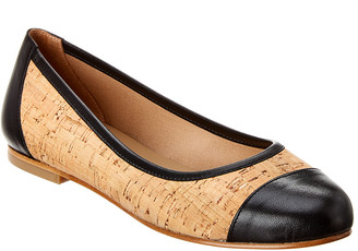 French Sole Venice Cork & Leather Flat