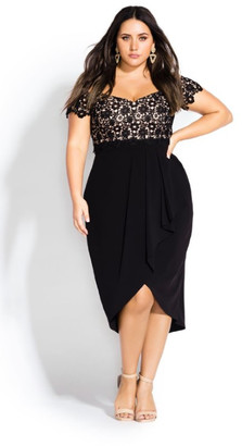 City Chic Lace Glamour Maxi Dress - black