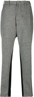 No.21 Checked Bi-Material Side-Stripe Pants