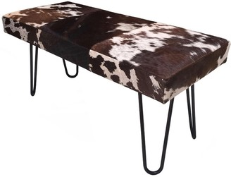 Overstock Modern Bench VIDA Upholstered in Brown & White Hide with Metal Legs