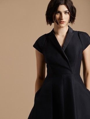 Halston Tuxedo Silk Faille Dress