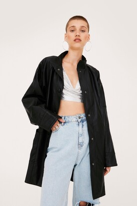 Nasty Gal Womens Where Faux Leather You Are Longline Jacket - Black