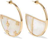 Aurelie Bidermann Bianca small gold-plated mother-of-pearl hoop earrings
