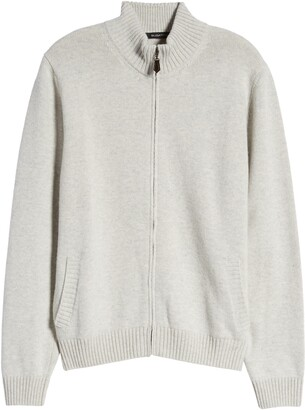 Bugatchi Mock Neck Wool Blend Zip Cardigan