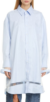 Maison Margiela Organza Overlay Long Sleeve Button-Up Shirt