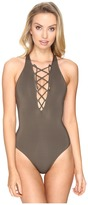 Jets High Neck Plunge Lace-Up Front One-Piece Women's Swimsuits One Piece
