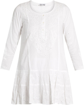 Juliet Dunn Floral-embroidered cotton beach dress
