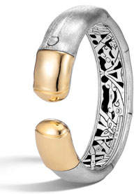 John Hardy Bamboo 18K Gold & Silver Brushed Medium Flex Cuff, Size M