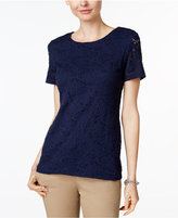 Charter Club Short Sleeve Solid Allover Lace Top, Only at Macy's