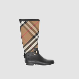 Burberry Strap Detail House Check and Rubber Rain Boots