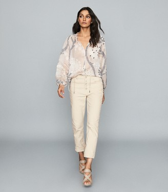 Reiss Hailey - Printed Open Neck Blouse in Nude