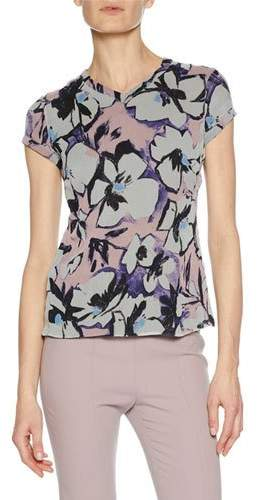 Giorgio Armani High-Neck Cap-Sleeve Button-Back Floral-Print Silk Blouse