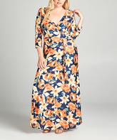 Tua Navy & Yellow Floral Surplice Maxi Dress - Plus