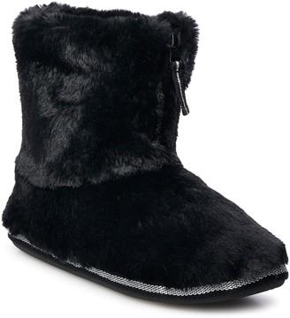 So Juniors' SO Faux Fur Zip Bootie Slippers